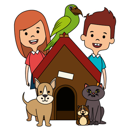 little kids with cute pets vector illustration design Stock Vector - 102911785