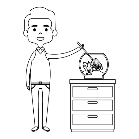 man with cute fish in aquarium vector illustration design Ilustrace