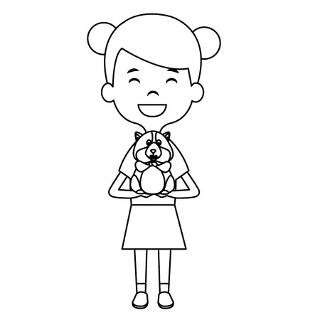 little girl with cute guinea pig vector illustration design 일러스트