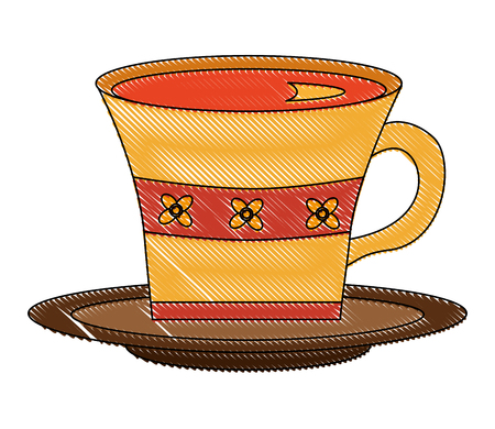 delicious tea cup with dish vector illustration design Illustration