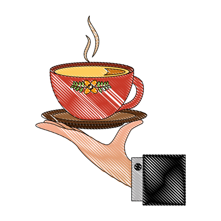 hand with delicious tea cup with dish vector illustration design