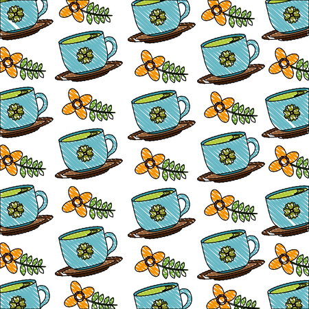 delicious tea cup with dish and flower pattern vector illustration design Illustration