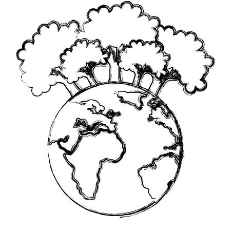 Salvar el planeta tierra con árboles forestales ecología, diseño de ilustraciones vectoriales Ilustración de vector