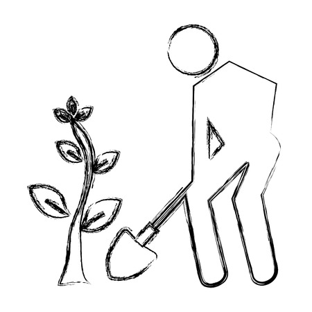 silhouette human planting a tree vector illustration design