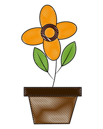 flower with branch and leafs in pot vector illustration design