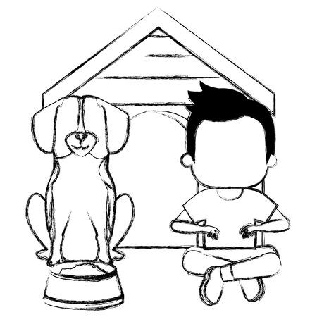 little boy with cute dog vector illustration design