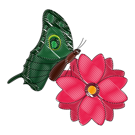 flower natural with butterfly isolated icon vector illustration design