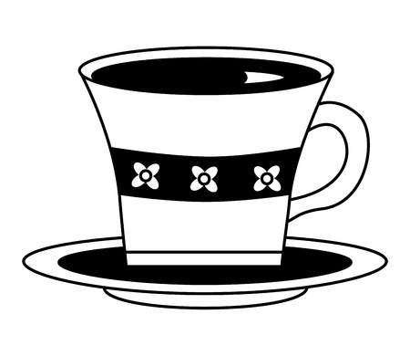 delicious tea cup with dish vector illustration design Ilustrace