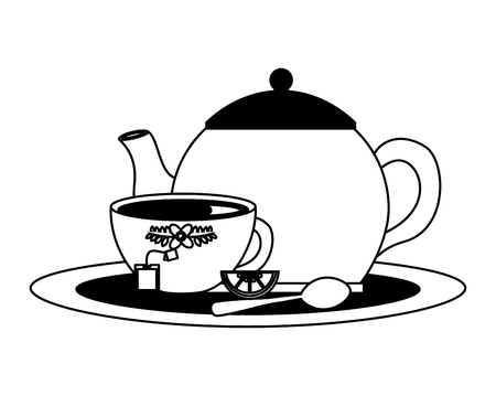 teapot with delicious lemon tea cup isolated icon vector illustration design