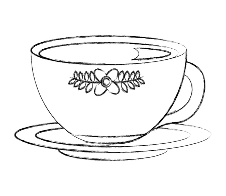 flowers decorative tea cup ceramic on dish vector illustration sketch