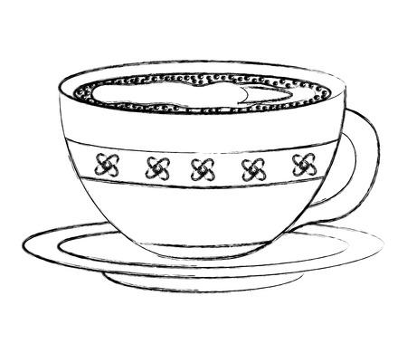 bloemen decoratieve koffiekopje keramiek op schotel vector illustratie schets