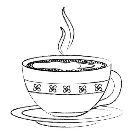 hot beverage decorative coffee cup on dish vector illustration sketch Standard-Bild - 102913039