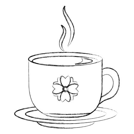 hot beverage decorative tea cup on dish vector illustration sketch Ilustrace