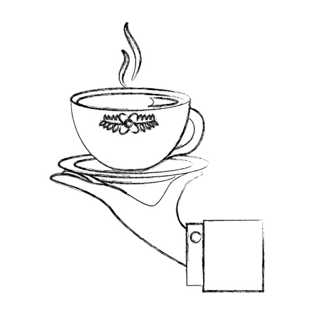 hand holding hot tea cup decoration flowers vector illustration sketch