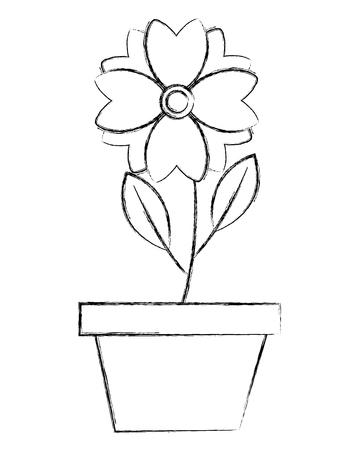 flower in pot decoration ornament image vector illustration sketch