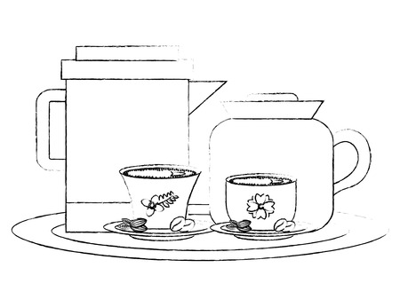 coffee maker and teapot with cups and seeds vector illustration sketch Illustration