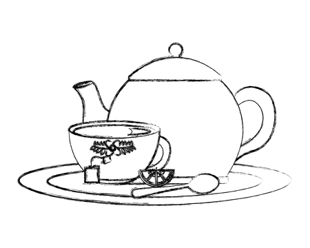 teapot and cup spoon lemon slice tea bag on tray vector illustration sketch Banque d'images - 102913088