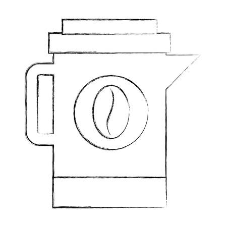 coffee maker kitchenware beans image vector illustration sketch Illustration