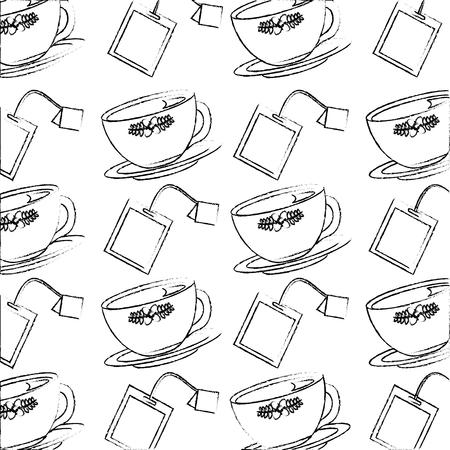 tea cup on dish and teabag pattern design vector illustration sketch Illustration