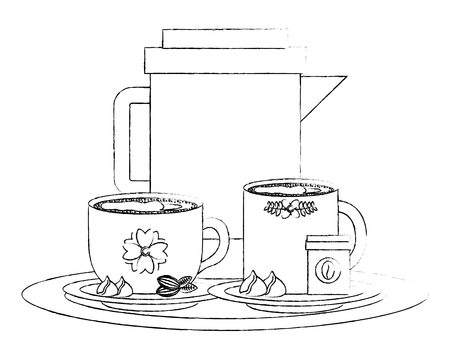 coffee maker and cups with chips chocolate vector illustration sketch Illustration