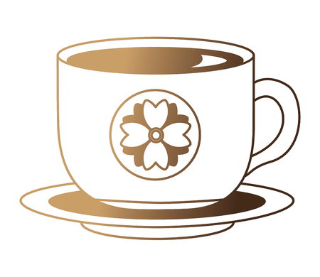 flowers decorative tea cup ceramic on dish vector illustration neon design Reklamní fotografie - 103156451