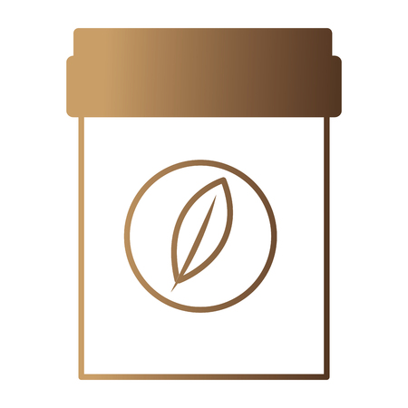 plastic container tea bag herbal product vector illustration neon design Ilustração