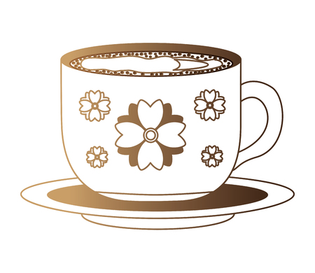 flowers decorative coffee cup ceramic on dish vector illustration neon design