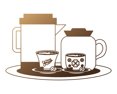 coffee maker and teapot with cups and seeds vector illustration neon design