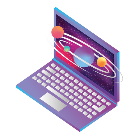 laptop computer with planets orbiting isometric icon vector illustration design