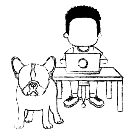 boy with laptop and cute dog vector illustration design Banque d'images - 102913242