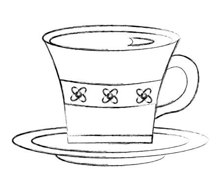 flowers decorative coffee cup ceramic on dish vector illustration sketch