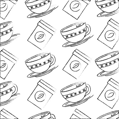 coffee cup on dish and herbal teabag pattern design vector illustration sketch