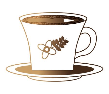 flowers decorative coffee cup ceramic on dish vector illustration neon design
