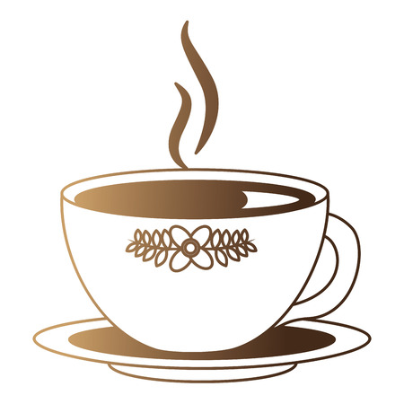 hot beverage decorative tea cup on dish vector illustration neon design Ilustração
