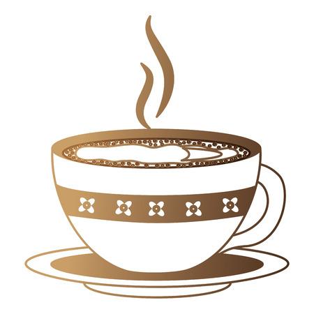 hot beverage decorative coffee cup on dish vector illustration neon design Standard-Bild - 102910832