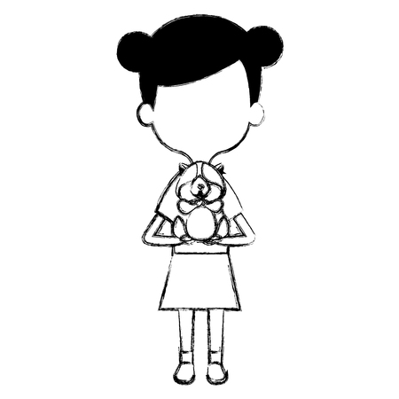 little girl with cute guinea pig vector illustration design Illustration