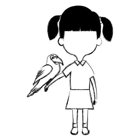 little girl with cute parrot vector illustration design Stock Illustratie