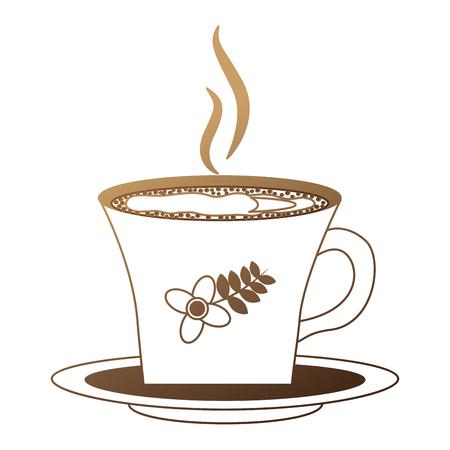 hot beverage decorative coffee cup on dish vector illustration neon design Standard-Bild - 102910294