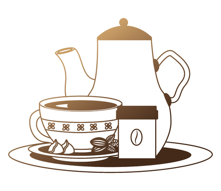 coffee maker and cup with cocoa beans on tray vector illustration neon design 向量圖像