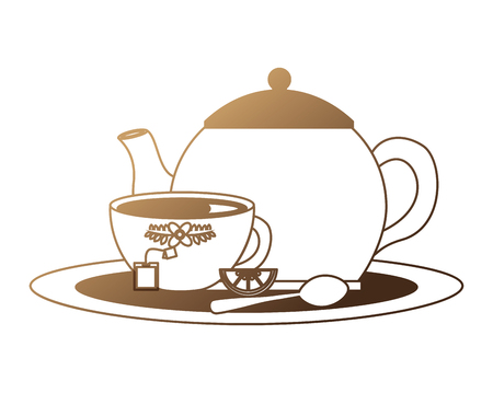 teapot and cup spoon lemon slice tea bag on tray vector illustration neon design