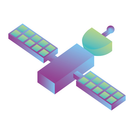 space satellite isometric icon vector illustration design