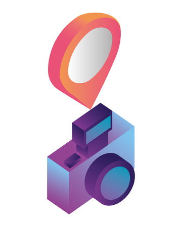 photographic camera with point location isometric icon vector illustration design