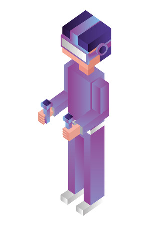 futuristic man isometric avatar vector illustration design Illustration