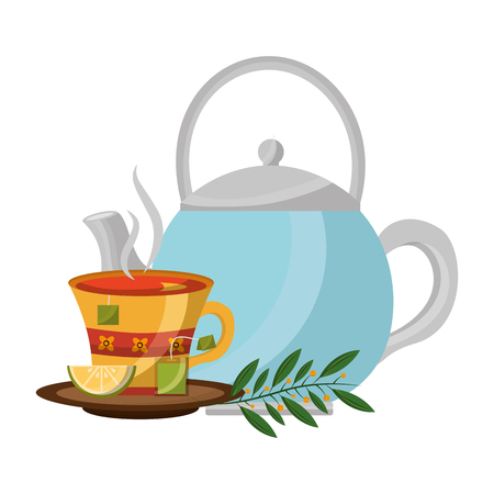 teapot with tea of lemon and leaves isolated icon vector illustration design