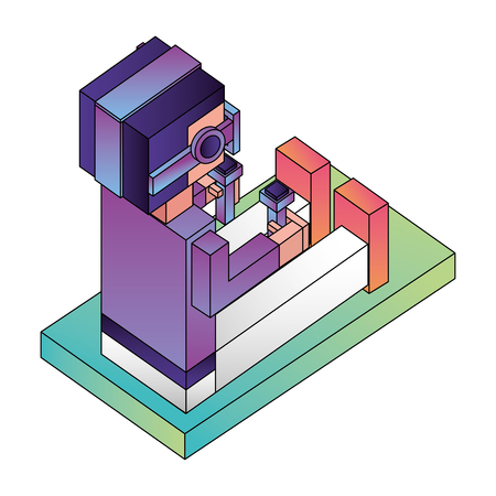 futuristic man isometric avatar vector illustration design Illustration