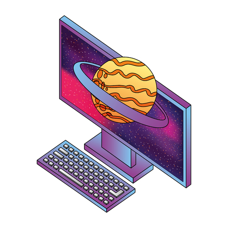 desktop computer with planet saturn isometric icon vector illustration design Illustration