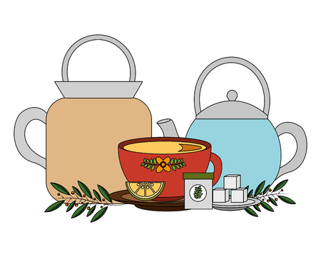 set teapots with cup and leaves isolated icon vector illustration design