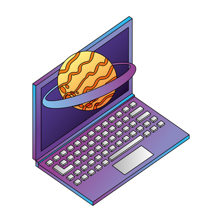 laptop computer planet saturn isometric icon vector illustration design