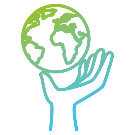 hand lifting the planet earth ecology vector illustration design