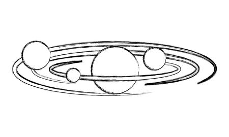 solar system planets galaxy astronomy vector illustration sketch